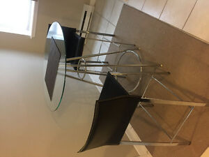 GLASS TOP BISTRO TABLE & TWO CHAIRS. Must sell!