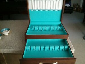 Nice Satin Lined Flatware Silver ware Wood Chest