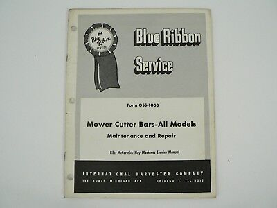 Mower Cutter Bars All Models Service Manual Mccormick Hay Machines Ih 1956