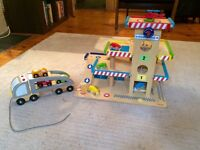 Janod Toy Garage + Pull Along Multicar Transporter