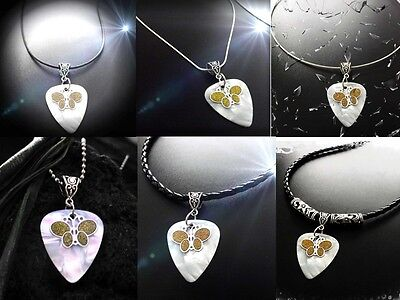 Butterfly Necklace on Guitar Pick. Sandblasted Charm - Customisable jewellery!