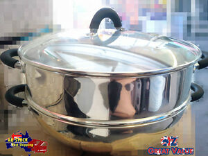 30cm Wok and Steamer Set | Food Steamer | Stainless Steel | Silicon Handles |