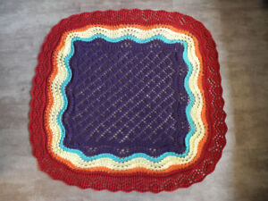 """Baby blanket, hand knit 45"""" square"""