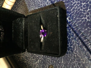 Diamond cut amethyst set in sterling silver
