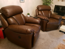 2 leather powered reclining chairs