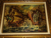Two Framed Vasselli Paintings - Oil on Canvas (Battle Frigates)