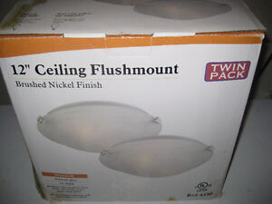 12 IN Ceiling Flushmount, Brushed Nickel - new in box