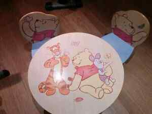 Winnie the Pooh kid's table and chairs