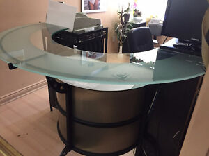 Glass Bar Table or Front Desk, Metal construction