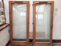 Wooden pine double glazed doors