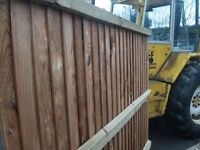 6x6 treated feather edge panels with 4x2 rails