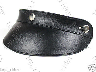Leather 3 Snap - Universal 3-Snap Adjustable Helmet leather Peak (Visor) Black