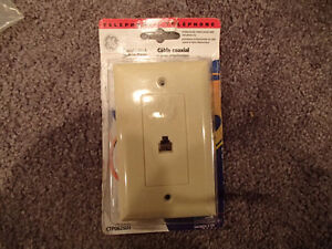 Telephone Wall Outlet Beige NEW