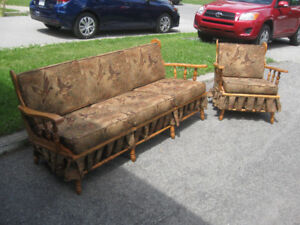Mid-Century Colonial Maple Couch and Chair Set (Refinished)