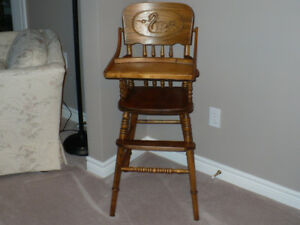 Antique Oak Pressed Back High Chair - Swan Design
