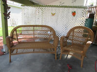 Wicker Rattan Loveseat and Chair
