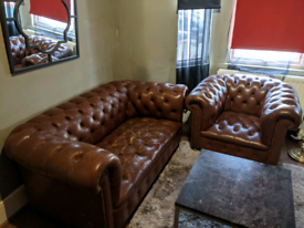 Chesterfield antique sofa and armchairs