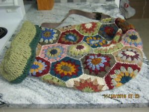 hand crocheted wool carry bag, one of a kind