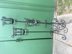 Matching Set of 3 Tiered Decorative Iron Candle Holders