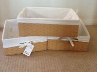 Storage baskets with white linen lining AS NEW