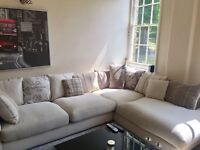Immaculate Corner Sofa with matching poof (still wrapped). Paid £3,700 new!
