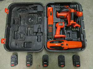 18V Black and Decker 5 Tool Combo Kit with Case + 5 Batteries