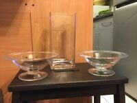 Set of Clear Glass Decorative Vase & Bowls