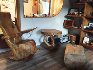 Hand Made Wood Rocking chair set