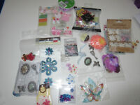 Girly Scrapbooking Lot Flowers, Ribbon Embellishments