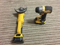 Dewalt 18v grinder and impact driver 2*4AH batteries