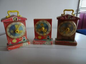 Lot 3 Ancien 1962 Fisher Price Musical Tick Toc Clock  997 Pièce