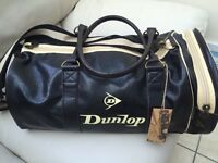 DUNLOP black/cream retro gym holdall BRAND NEW WITH TAGS