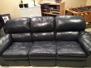 Blue Leather couch.