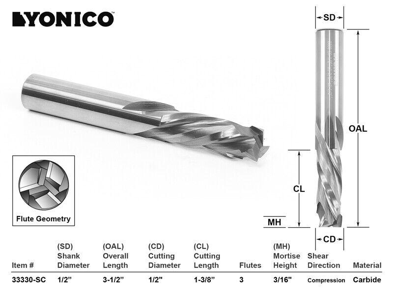 """1/2"""" Dia. 3 Flute Compression CNC Router Bit - 1/2"""" Shank - Yonico 33330-SC"""