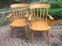 2 large solid beech chairs, ideal up cycling