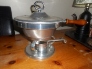 two chafing dishes, one large, one smaller
