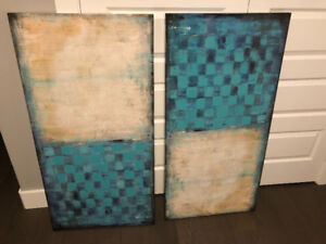 Pair of canvas paintings