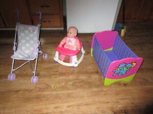 wooden doll crib. walker. doll and stroller