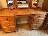 Beach hard wood Dressing Table with Mirror and matching Full Length Floor Mirror