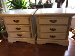 Pair of Solid Wood Nightstands - Antique Finished