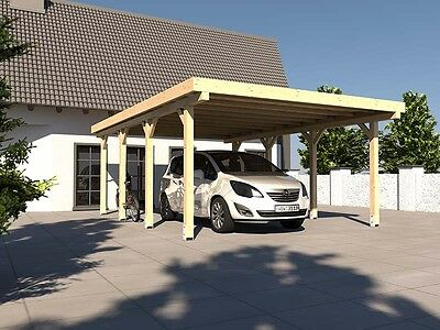 Carport Flachdach AVUS XIV 400 x 600 cm Konstruktionsvollholz KVH Bausatz