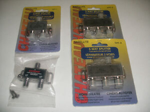 2 + 3 Way Co-Axial Cable Splitters for TV and Satellite use
