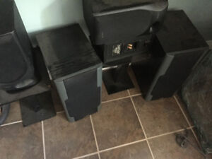 Sony and Omage stereo speakers with stands