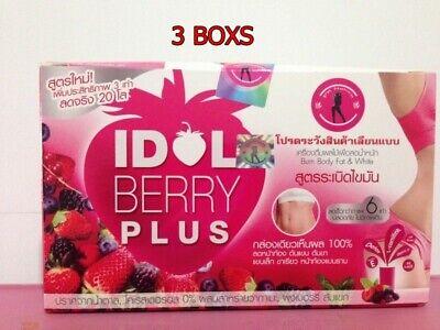 3x New Idol Slim Berry plus Fruit Drink Diet Weight Loss Burn Body Fat & White
