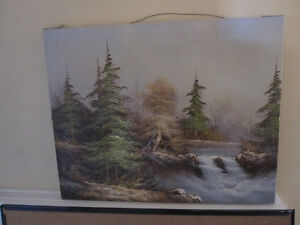 Art Oil On Canvas Forest Waterfall Landscape Scene Picture