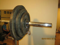 Olympic weights!!! total of 255lbs with bar!!!