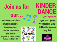 Kinder Dance for Ages 2 and 3 (Begins the first week of May!)