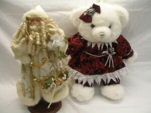 Peluche ours et Père Noël Nicolas