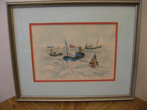 Urbain Huchet signed Lithograph Fishing Fleets