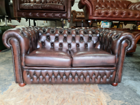 Antique Brown Chesterfield 2 Seater Sofa